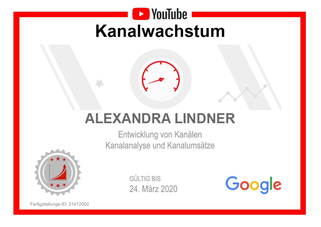 Zertifikat YouTube Kanalwachstum selbst gebaut